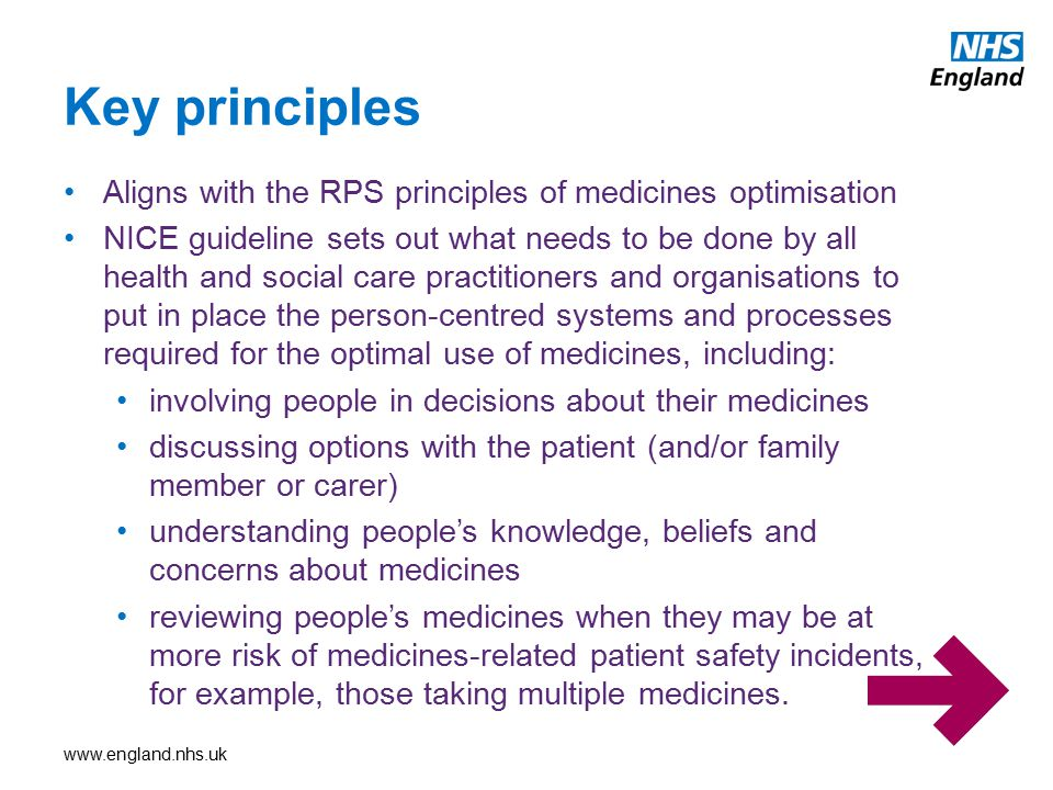 Key principles Aligns with the RPS principles of medicines optimisation.