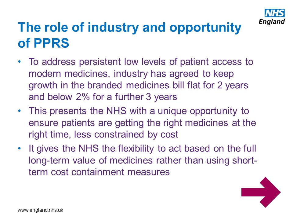 The role of industry and opportunity of PPRS
