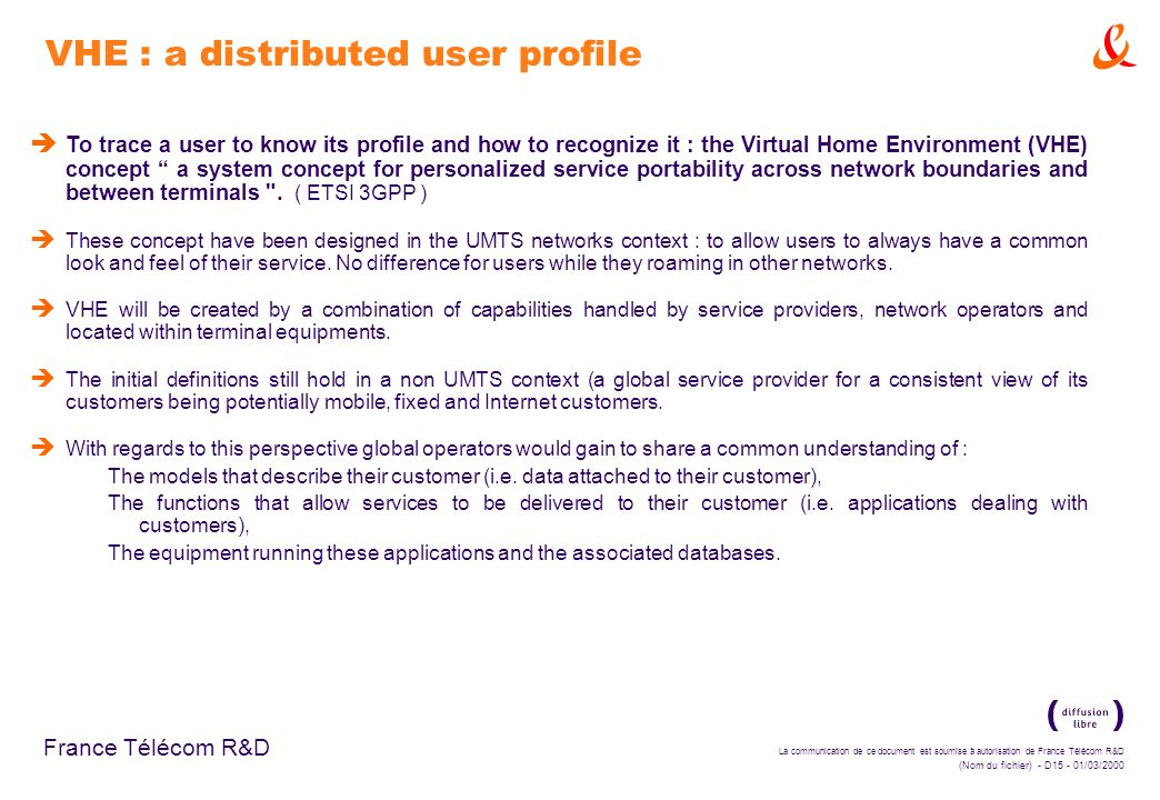 VHE : a distributed user profile