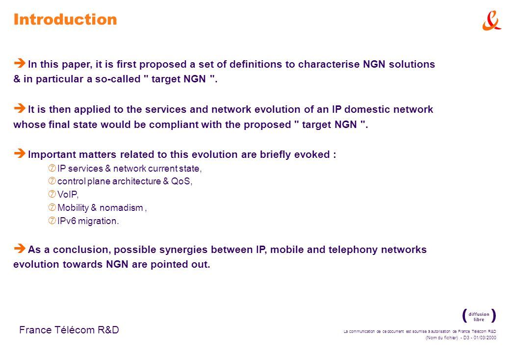 Introduction In this paper, it is first proposed a set of definitions to characterise NGN solutions.