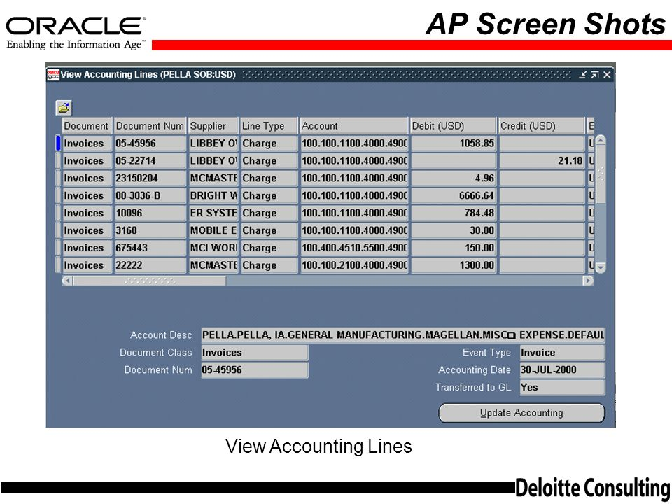 AP Screen Shots View Accounting Lines