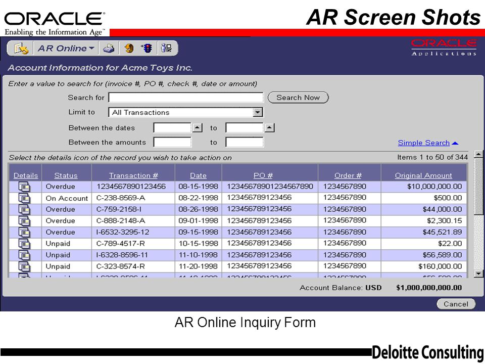 AR Screen Shots AR Online Inquiry Form
