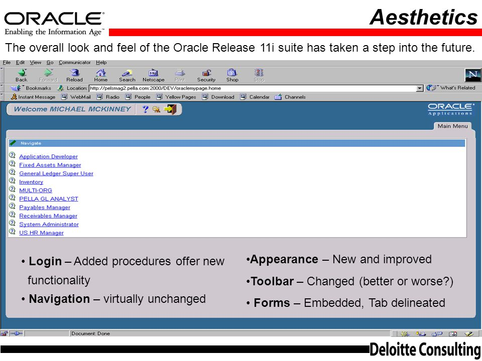 Aesthetics The overall look and feel of the Oracle Release 11i suite has taken a step into the future.