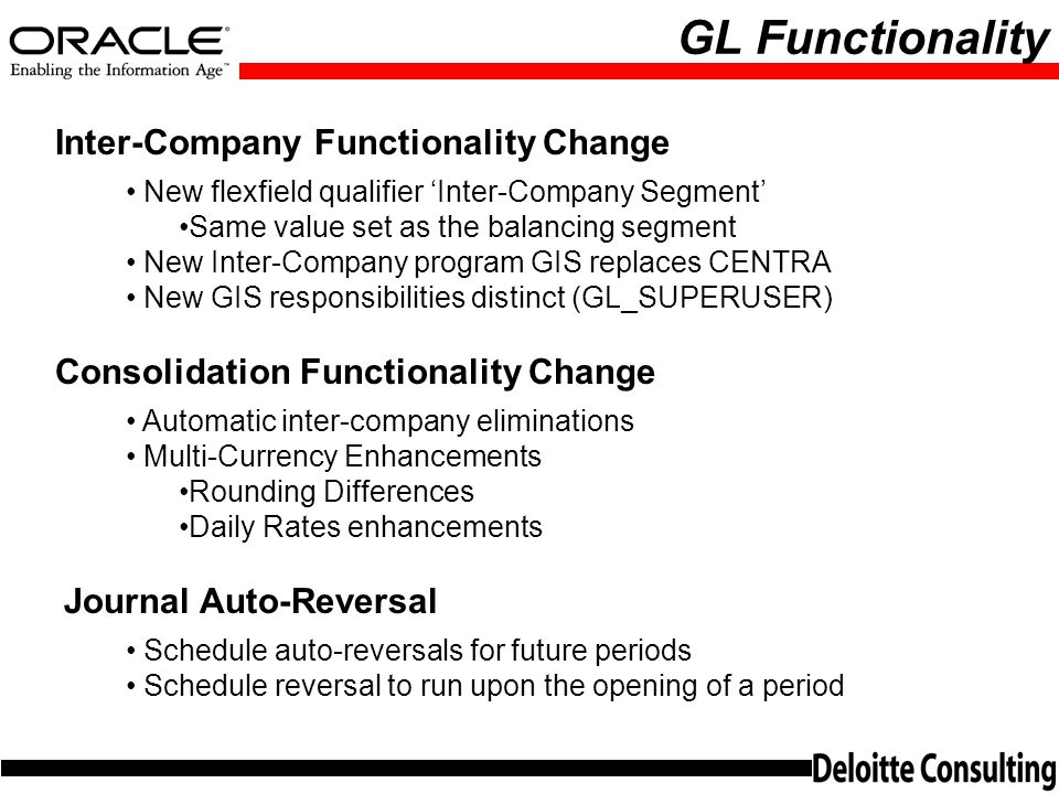 GL Functionality Inter-Company Functionality Change