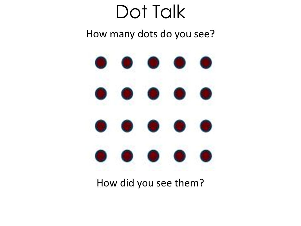 How many dots do you see How did you see them