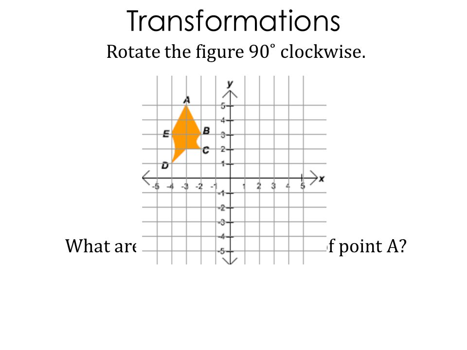 Transformations Rotate the figure 90˚ clockwise. What are the new coordinates of point A