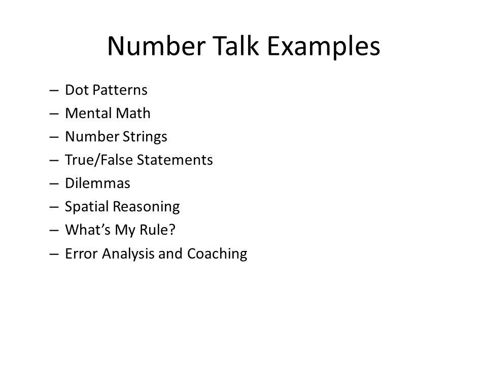 Number Talk Examples Dot Patterns Mental Math Number Strings