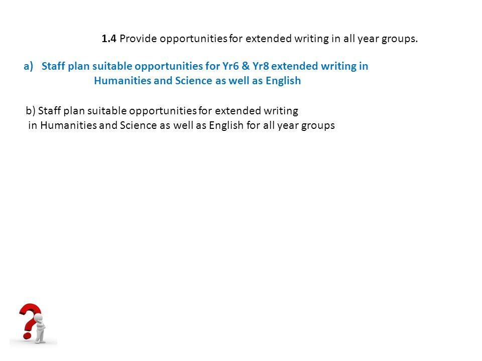 1.4 Provide opportunities for extended writing in all year groups.
