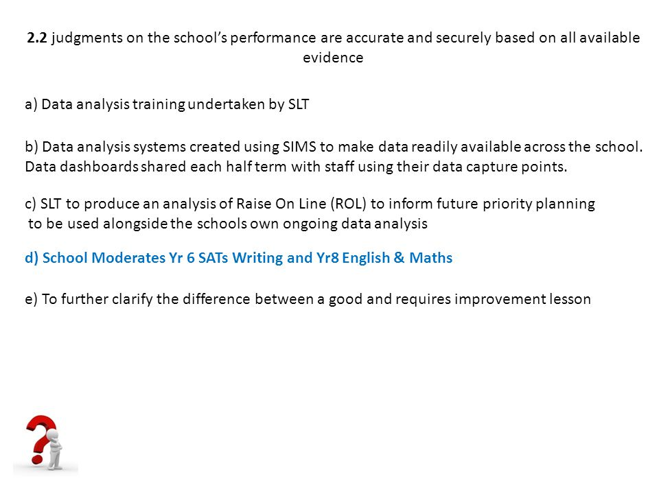 2.2 judgments on the school's performance are accurate and securely based on all available