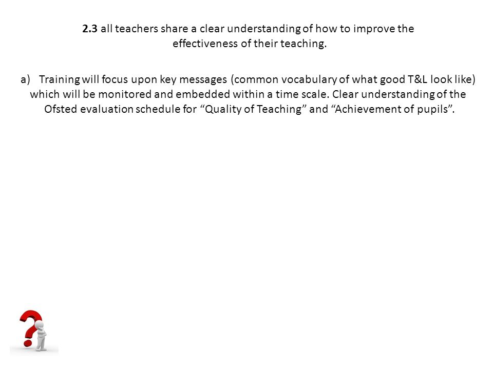 2.3 all teachers share a clear understanding of how to improve the