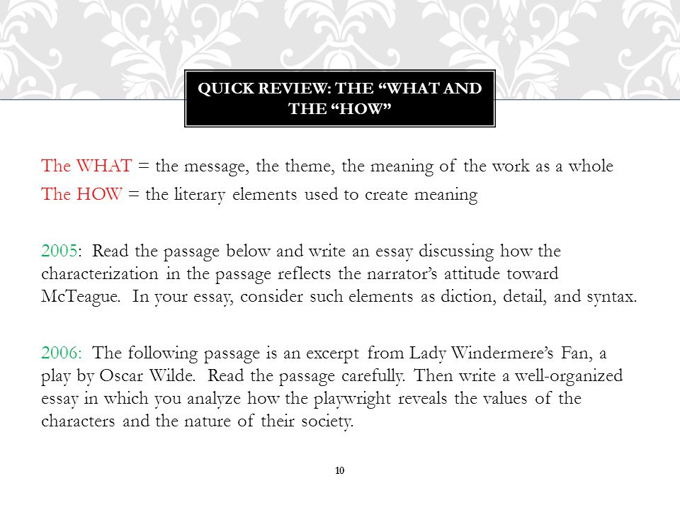 Quick review: the what and the How