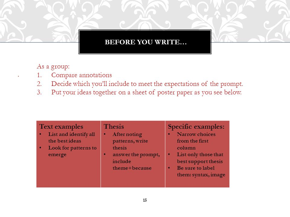 . Before you write… As a group: Compare annotations