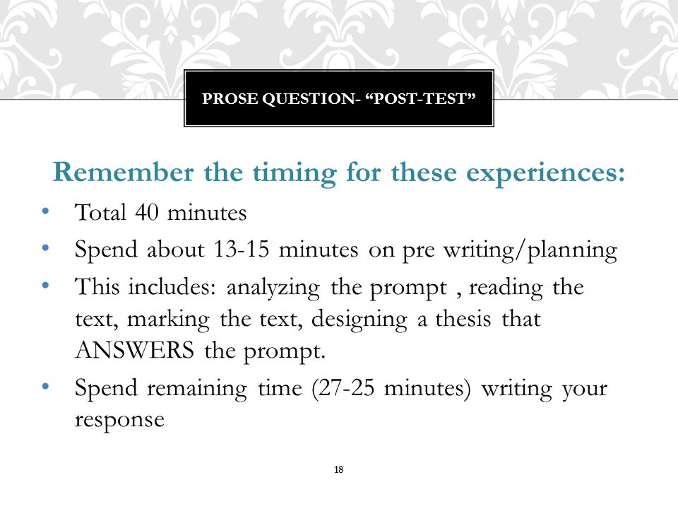 Prose Question- post-test