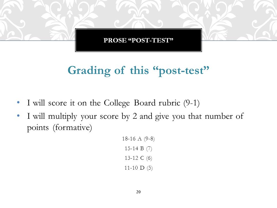 Grading of this post-test