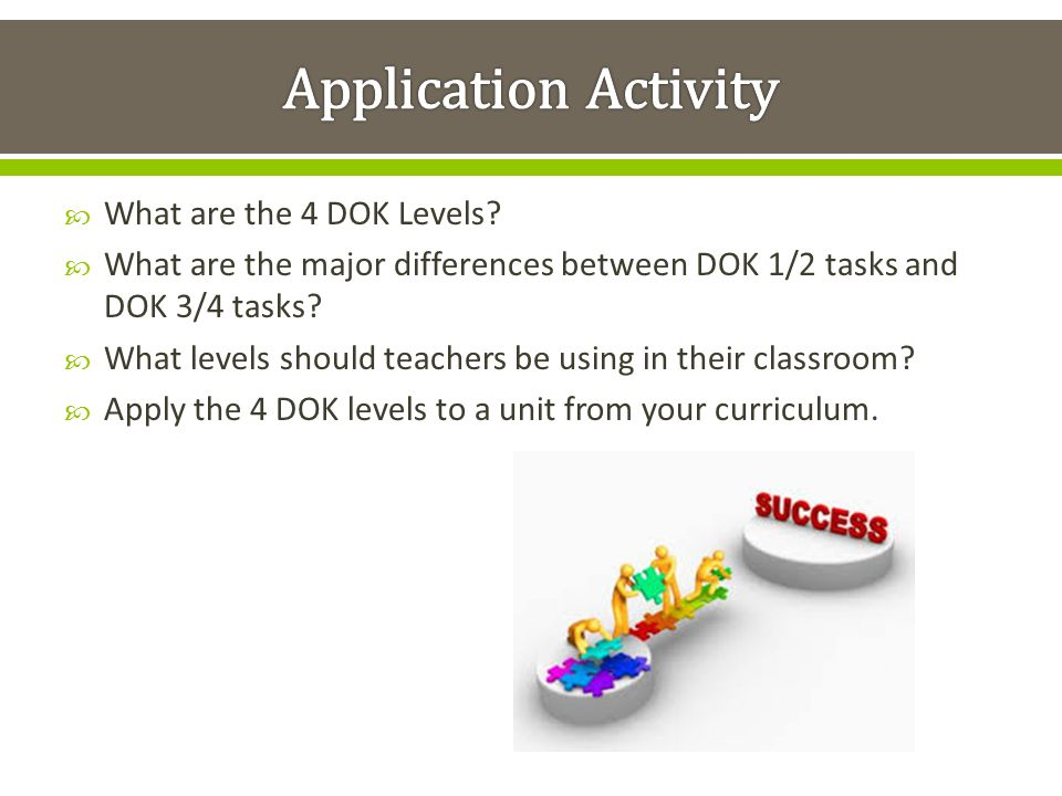 Application Activity What are the 4 DOK Levels