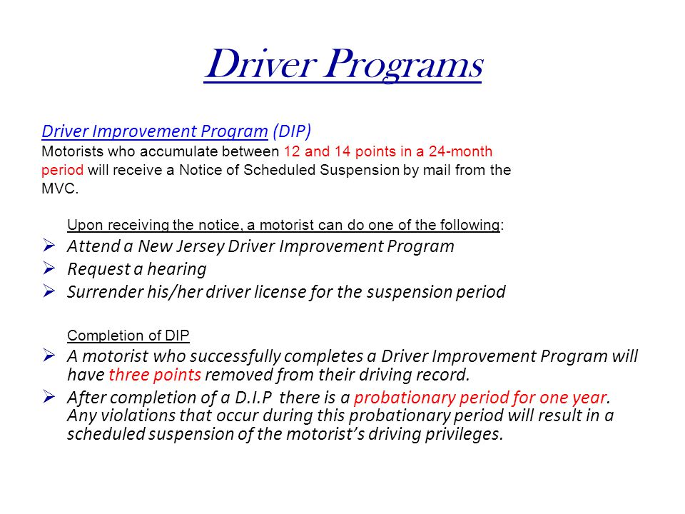 Driver Programs Driver Improvement Program (DIP)