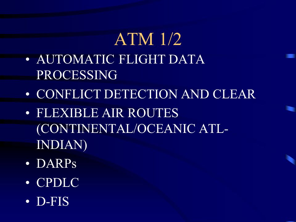 ATM 1/2 AUTOMATIC FLIGHT DATA PROCESSING CONFLICT DETECTION AND CLEAR