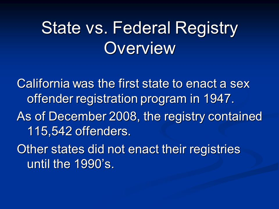Sex Offender Registration and the Federal Adam Walsh Act: An Update of its  Requirements and Status of Implementation in Texas Vincent Castilleja Sex  Offender