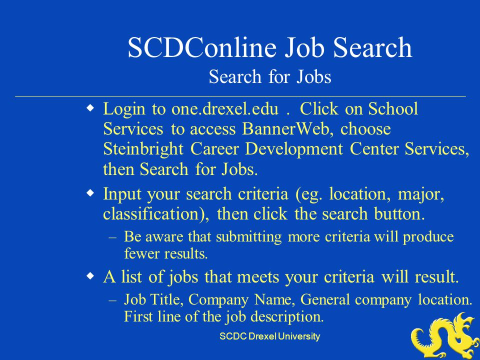Your Co-op Job Search and SCDC Policies - ppt video online