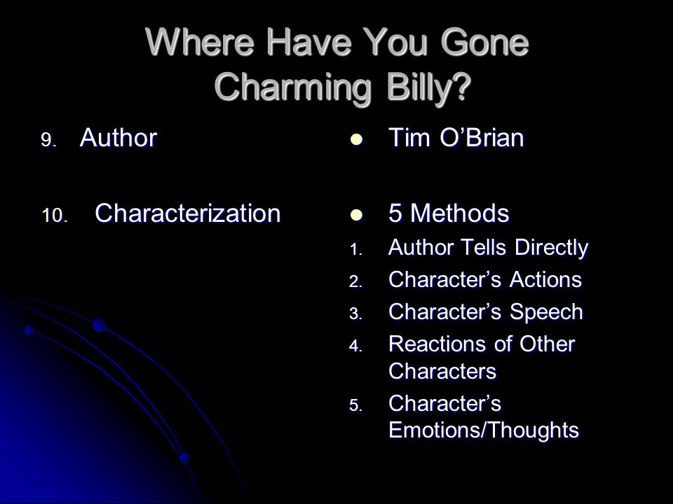 where have you gone charming billy character analysis