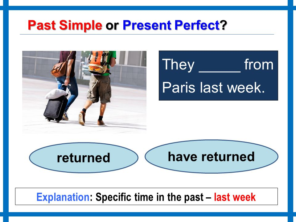 Explanation: Specific time in the past – last week