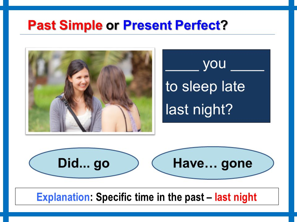 Explanation: Specific time in the past – last night