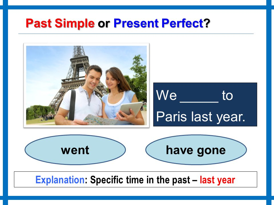 Explanation: Specific time in the past – last year