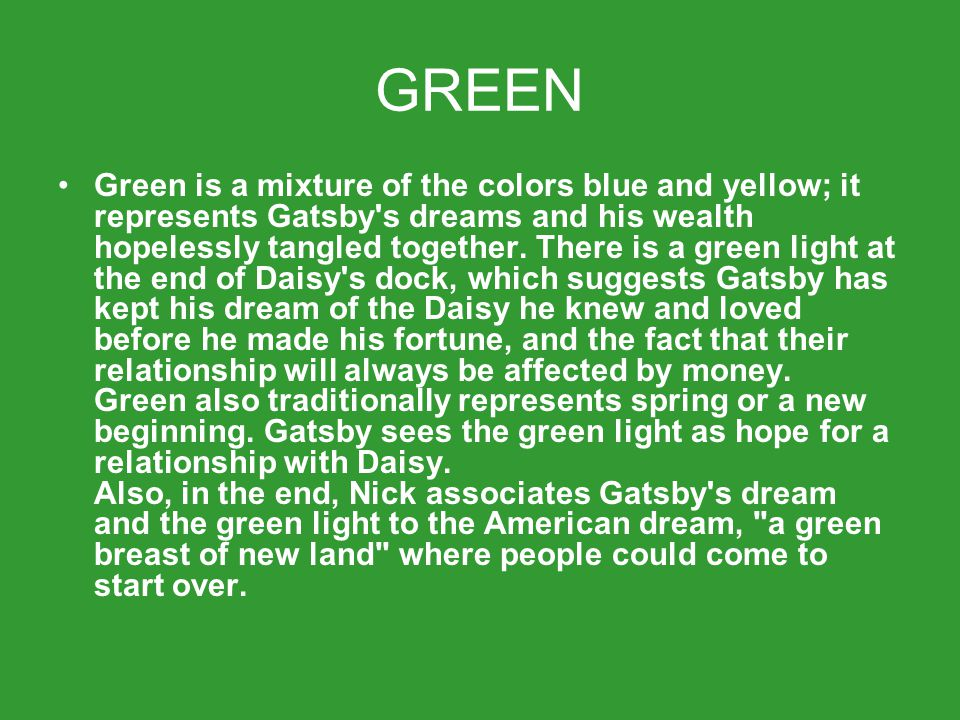 symbolism in the great gatsby written by All symbols the green light and the color green the eyes of doctor t j eckleburg the valley of ashes east and west gatsby's mansion upgrade to litcharts a + instant downloads of all 743 litchart pdfs (including the great gatsby .