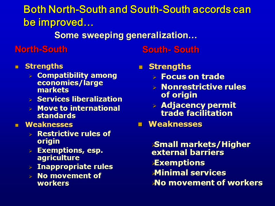 Both North-South and South-South accords can be improved…