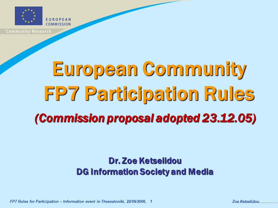 European Community FP7 Participation Rules