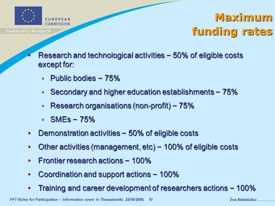 Maximum funding rates. Research and technological activities – 50% of eligible costs except for: Public bodies – 75%