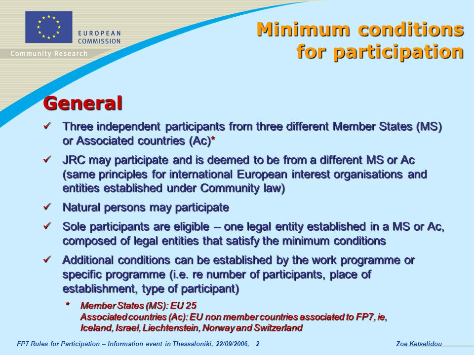 Minimum conditions for participation