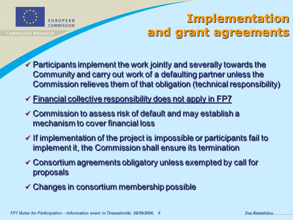 Implementation and grant agreements