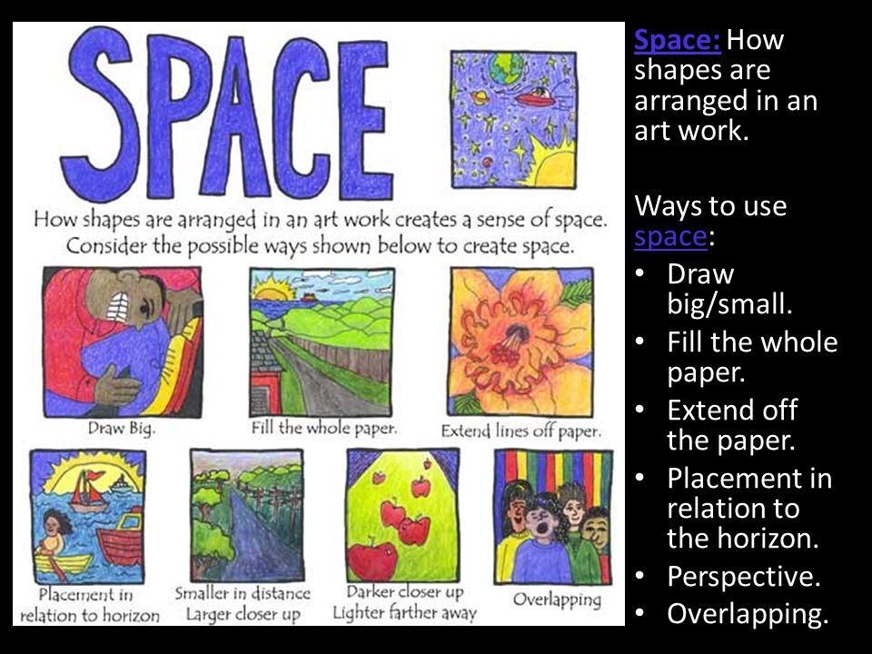 Space: How shapes are arranged in an art work.