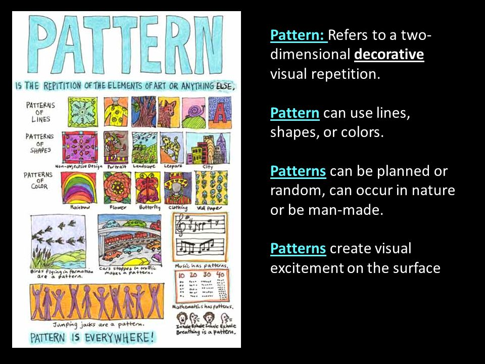 Pattern: Refers to a two-dimensional decorative visual repetition.