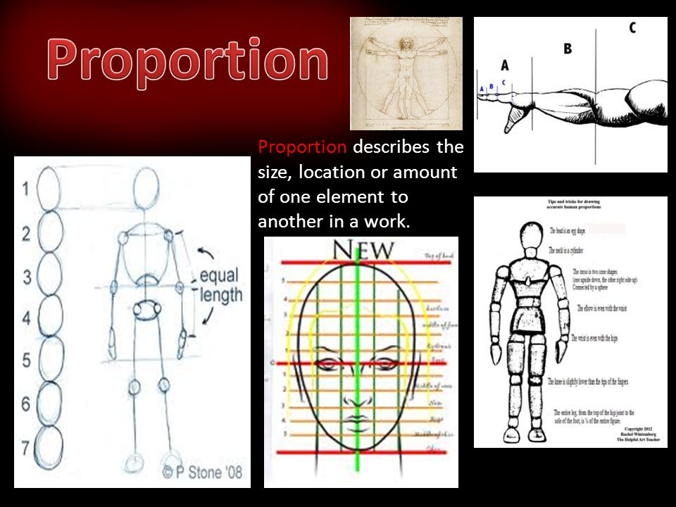 Proportion Proportion describes the size, location or amount of one element to another in a work.