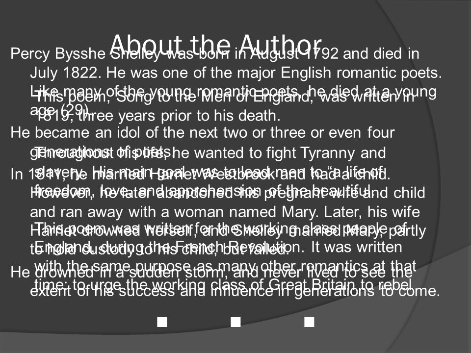 SONG TO THE MEN OF ENGLAND PERCY BYSSHE SHELLEY - ppt video