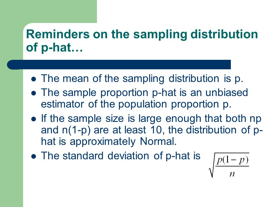Reminders on the sampling distribution of p-hat…