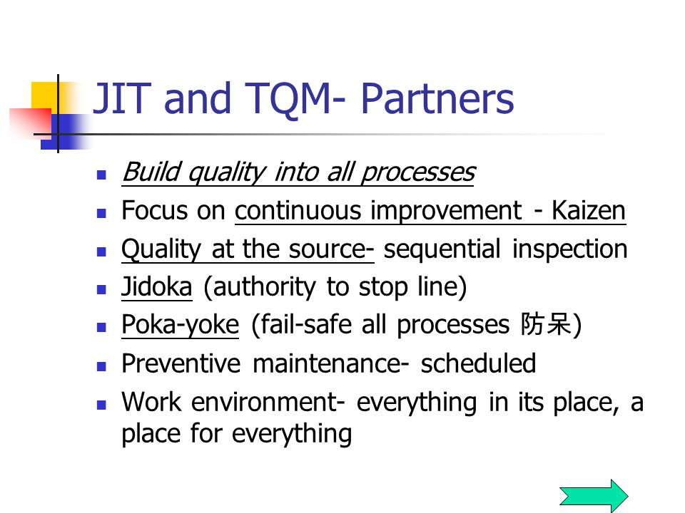 JIT and TQM- Partners Build quality into all processes