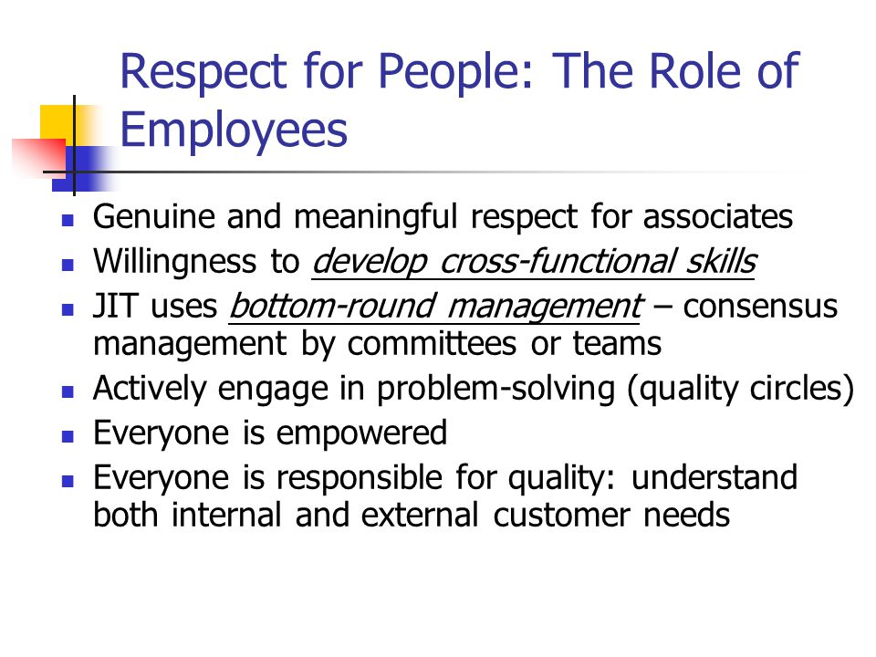 Respect for People: The Role of Employees