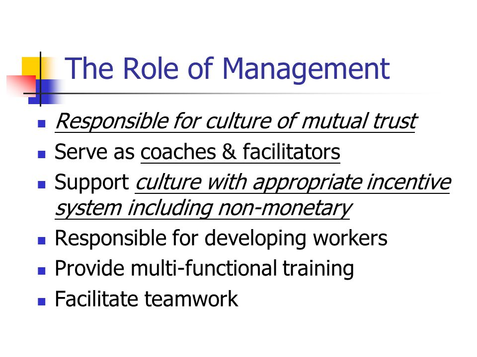 The Role of Management Responsible for culture of mutual trust