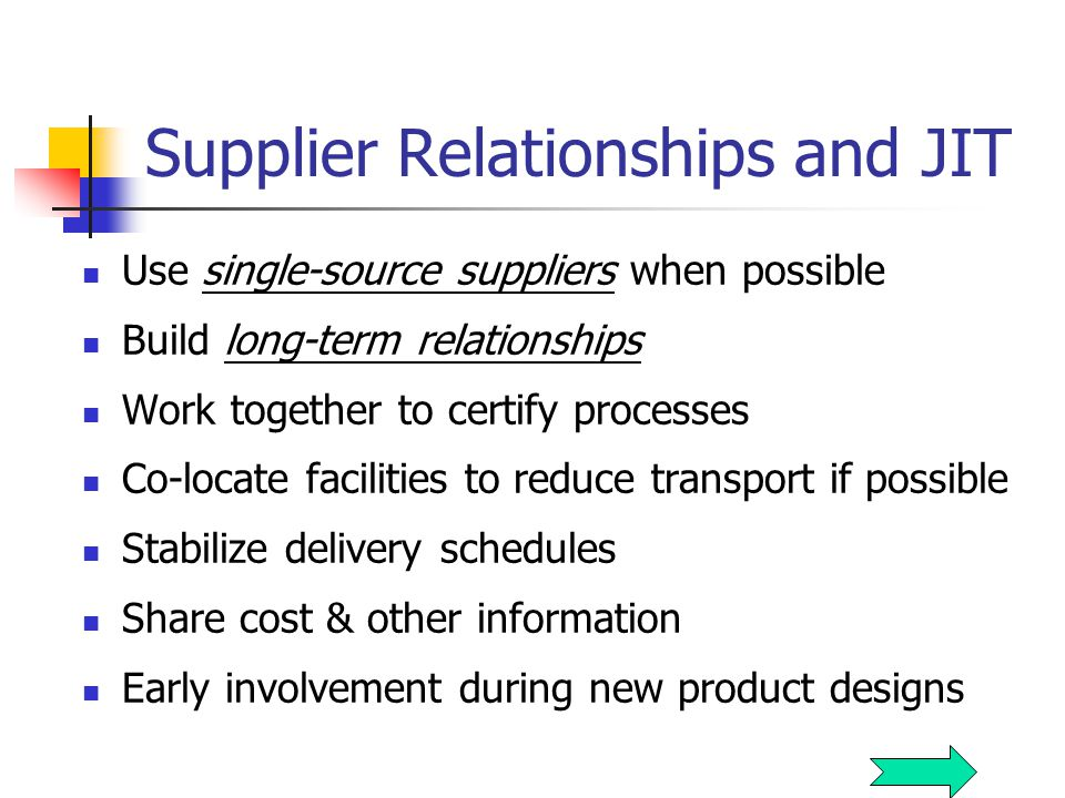 Supplier Relationships and JIT