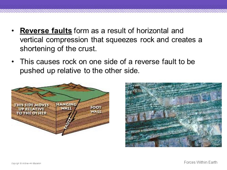 Reverse faults form as a result of horizontal and vertical compression that squeezes rock and creates a shortening of the crust.