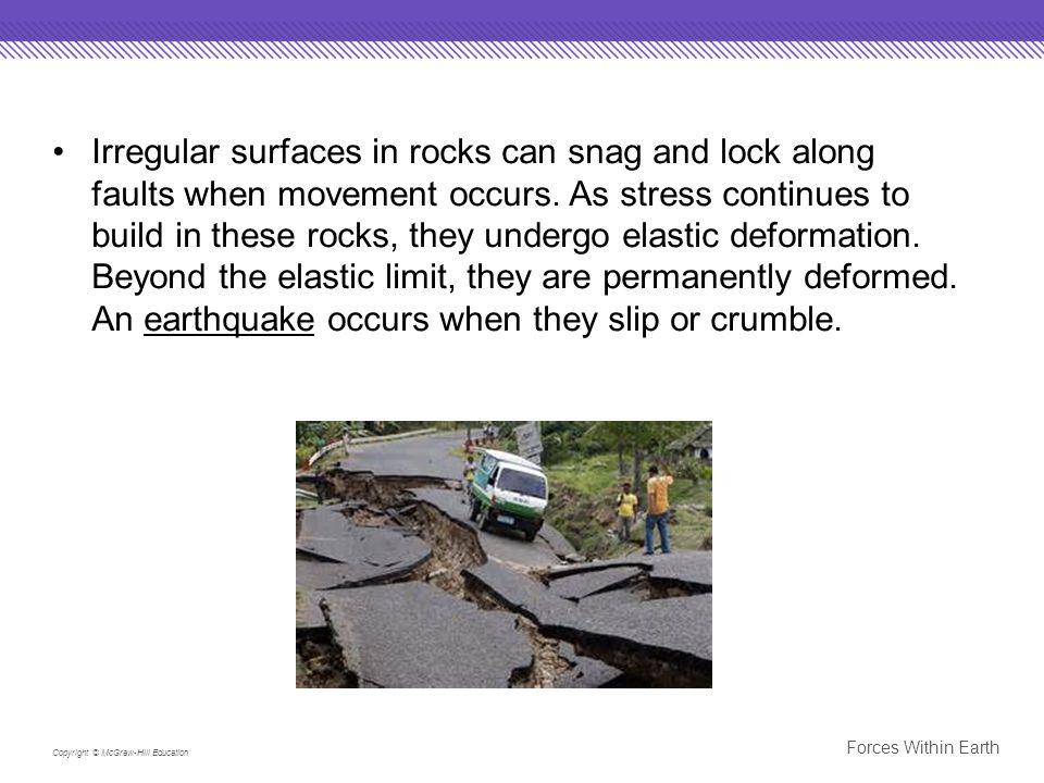 Irregular surfaces in rocks can snag and lock along faults when movement occurs. As stress continues to build in these rocks, they undergo elastic deformation. Beyond the elastic limit, they are permanently deformed. An earthquake occurs when they slip or crumble.