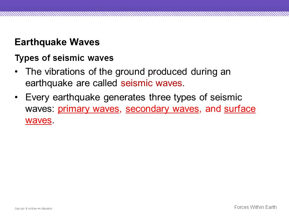 Earthquake Waves Types of seismic waves. The vibrations of the ground produced during an earthquake are called seismic waves.