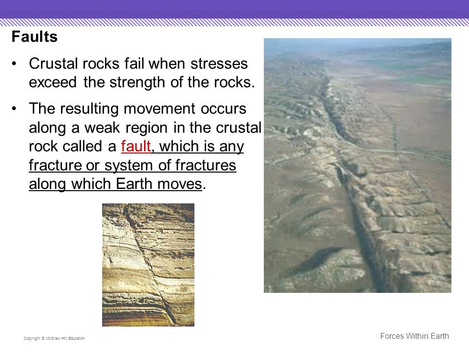 Crustal rocks fail when stresses exceed the strength of the rocks.