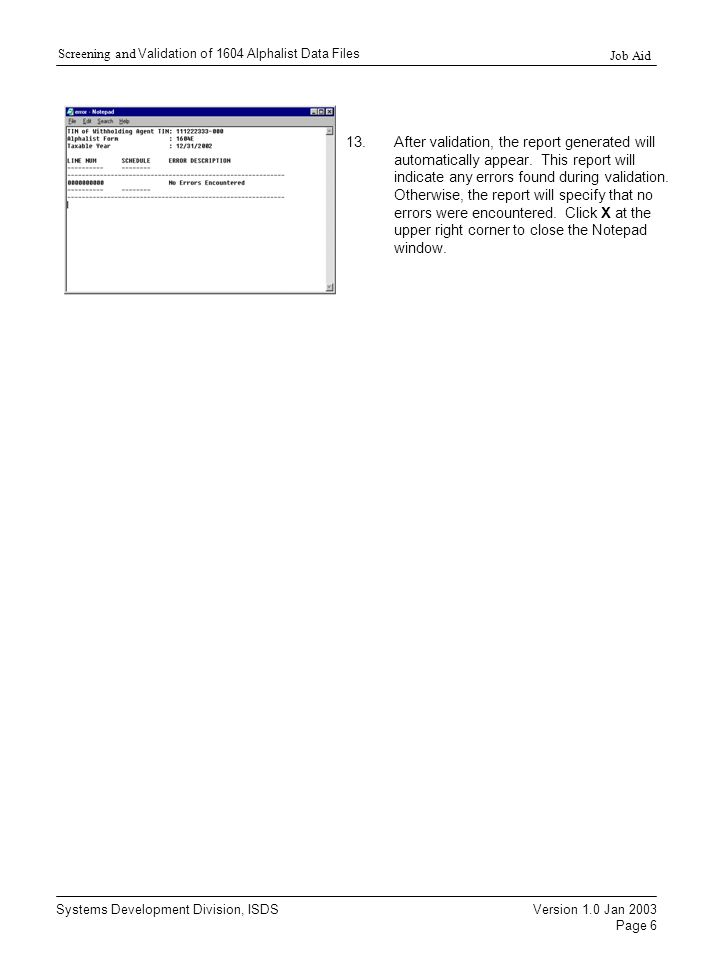 1604E and 1604CF Validation Module (Procedures for
