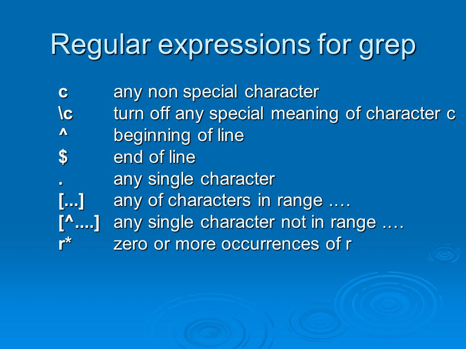 Regular expressions for grep