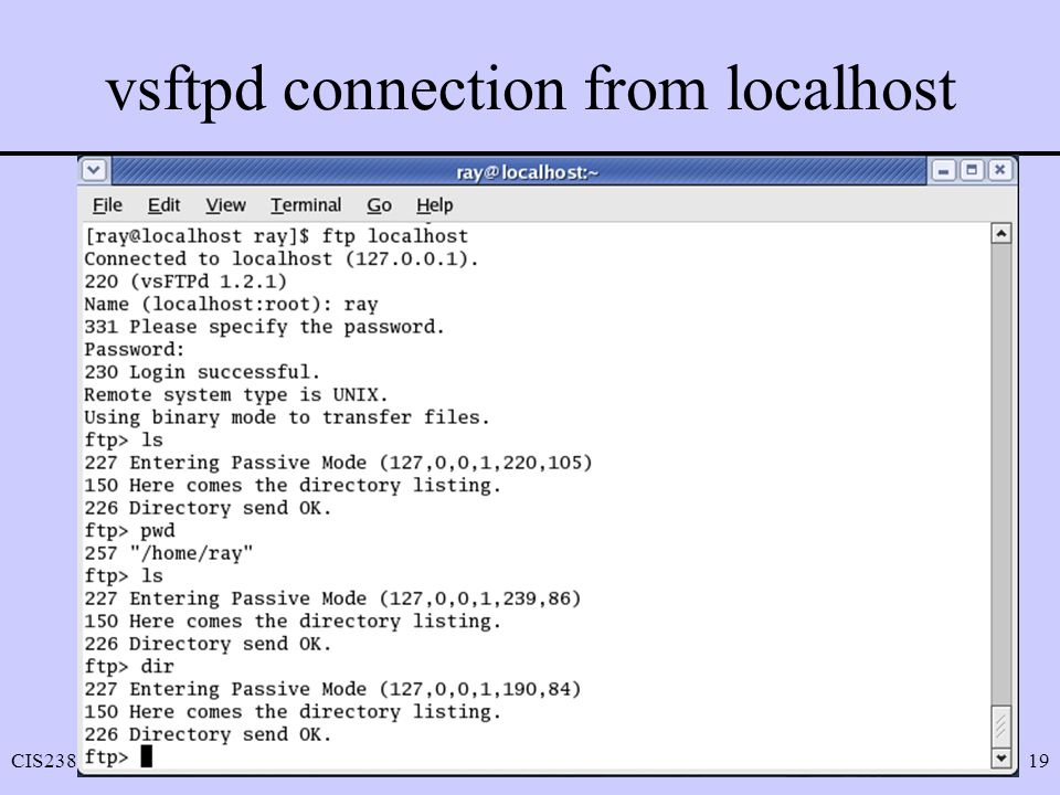 vsftpd connection from localhost