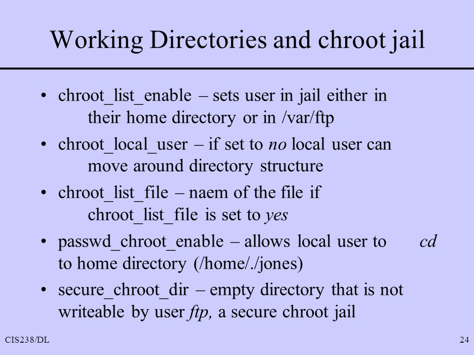 Working Directories and chroot jail